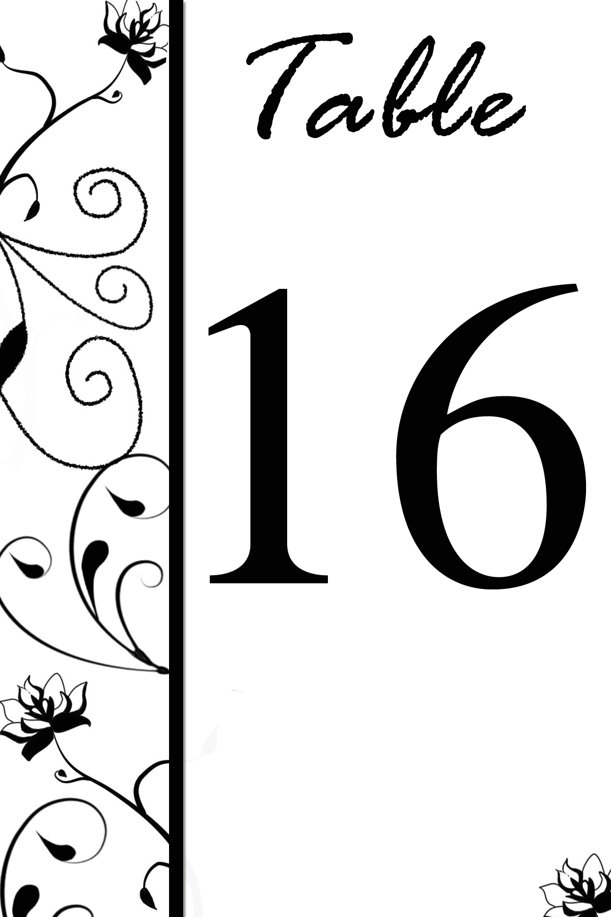 Free Table Number Templates~Swirly Flowers - Bridal Party Tees