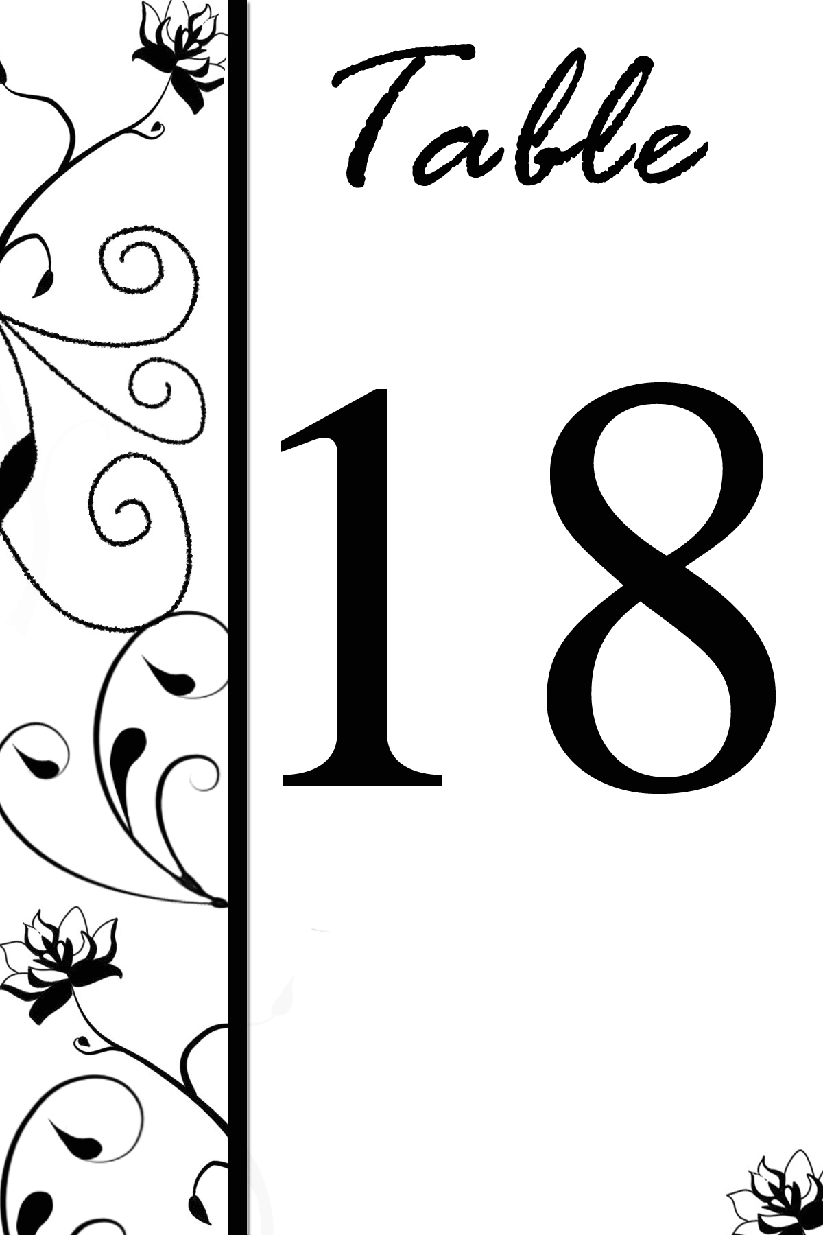 Free Table Number Templatesswirly Flowers Bridal Party Tees