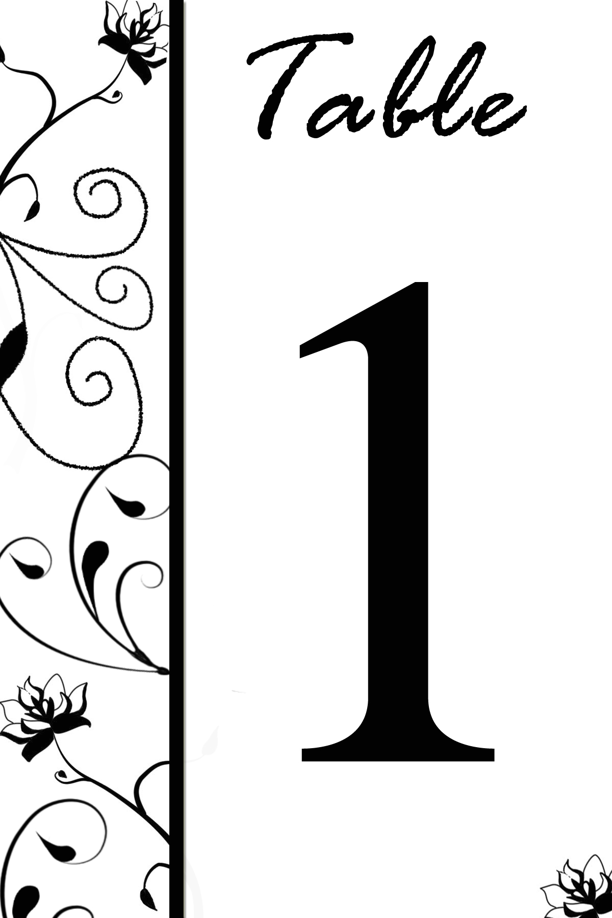 free table number templates swirly flowers bridal party tees