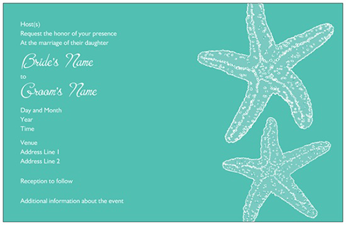Horizontal Flat Wedding Invitation