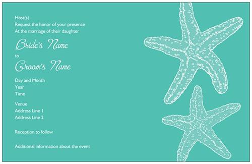 Horizontal Flat Wedding Invitation