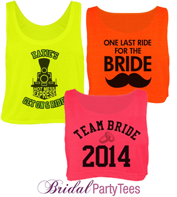 Custom Neon Bridal Crop Tops