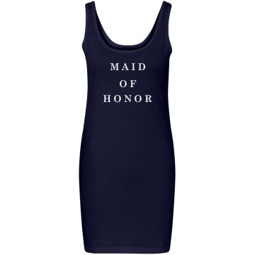 Maid of Honor Rhinestones Junior Fit Bella Sheer Longer Length Rib Tank Top