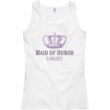 Maid of Honor With Crown Junior Fit Bella Sheer Longer Length Rib Racerback Tank Top