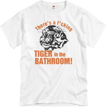 Bathroom Tiger w/ Back Unisex Basic Gildan Heavy Cotton Crew Neck Tee