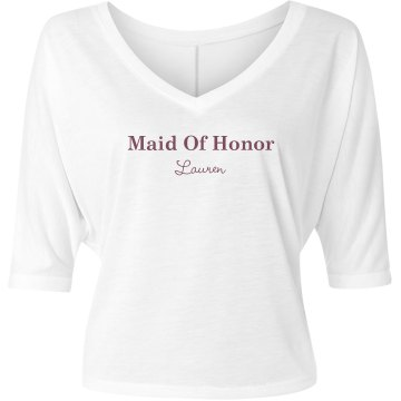 Maid Of Honor Fashion Tee Misses Bella Flowy V-Neck Half-Sleeve Tee