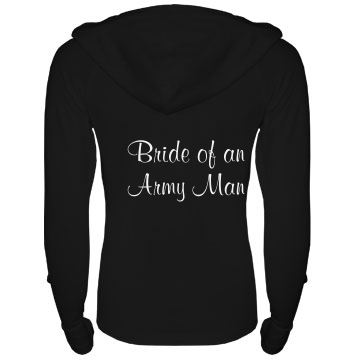 Army Bride w/ Back Junior Fit Bella Long Sleeve 1/2 Zip Hooded Pullover Tee