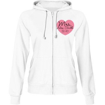 Mrs. Bride w&#x2F; Back Junior Fit Bella Fleece Raglan Zip Hoodie