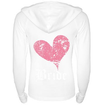 Badass Bride Sweatshirt Junior Fit Bella Long Sleeve 1/2 Zip Hooded Pullover Tee