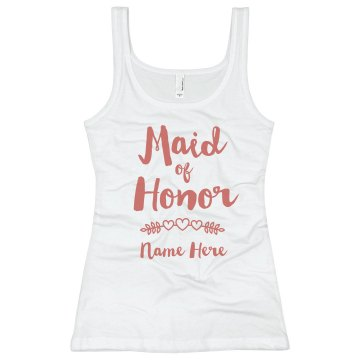 Maid Of Honor Junior Fit Bella Longer Length 1x1 Rib Tank Top