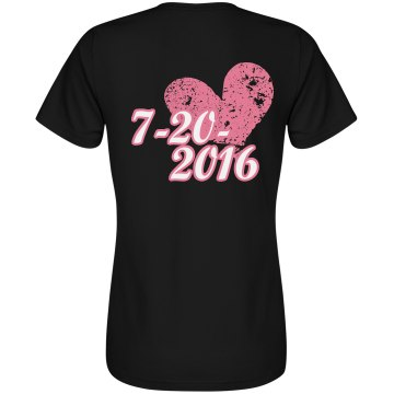 Save The Date Heart Hers Junior Fit Bella Crewneck Jersey Tee