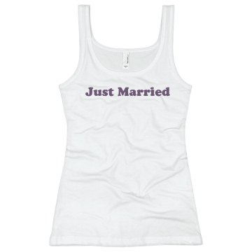 Just Married Wedding Top Junior Fit Bella Longer Length 1x1 Rib Tank Top