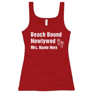 Beach  Bound Newlywed Junior Fit Bella Sheer Longer Length Rib Tank Top