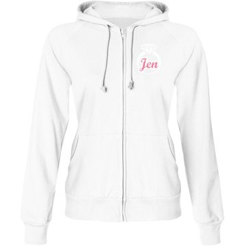 Bride With Ring Hoodie Junior Fit Bella Fleece Raglan Zip Hoodie