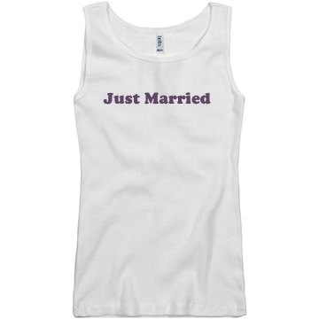 Just Married Wedding Top Junior Fit Basic Bella 2x1 Rib Tank Top