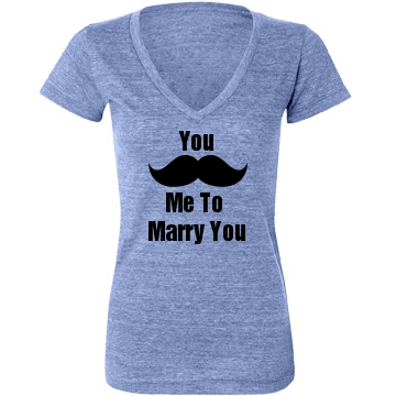 Mustache Marry Me Junior Fit Bella Triblend Deep V Neck Tee