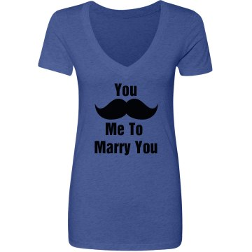 Mustache Marry Me Junior Fit Next Level Triblend Deep V-Neck Tee